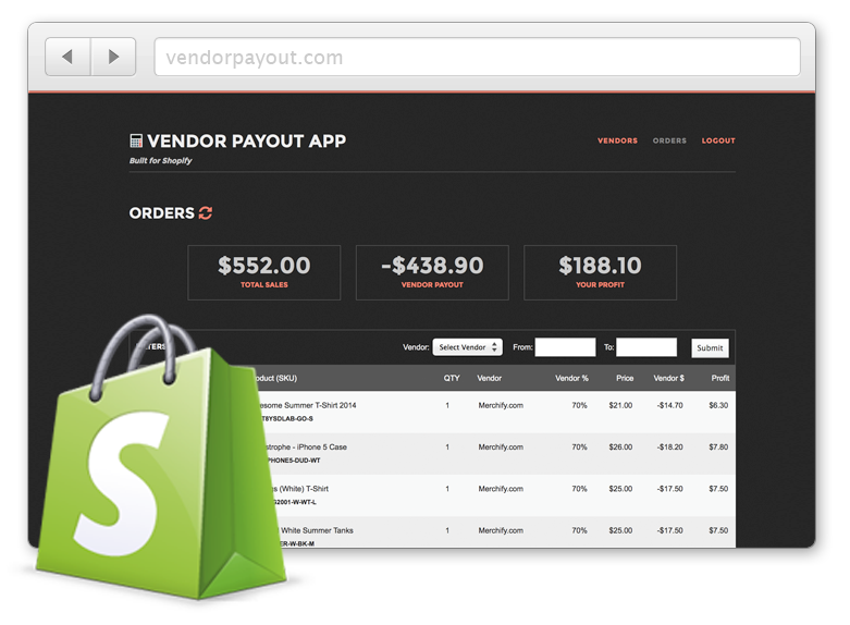 Vendor Payout integrated with Shopify